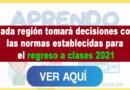 Minedu| Cada Región Tomará Decisiones Siguiendo Las Pautas Y Normas Establecidas Para El Regreso A Clases Este 2021