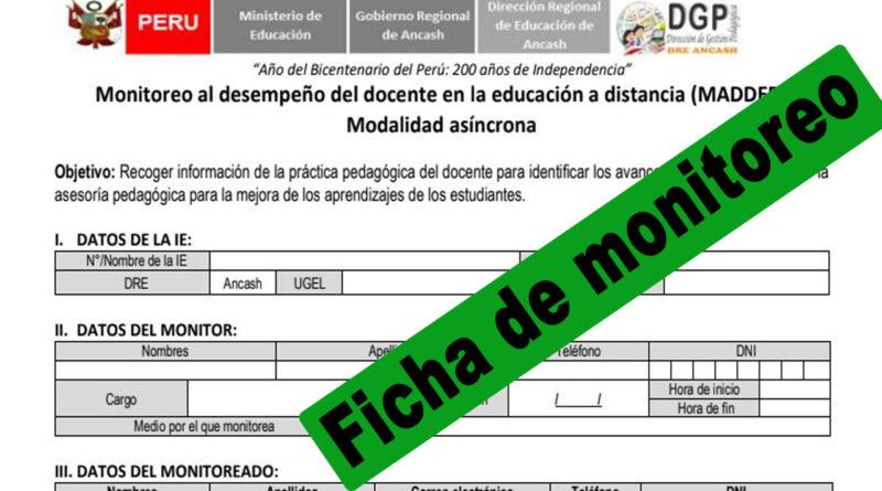 Ficha de monitoreo al desempeño del docente (Educación a distancia)