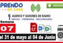 Programas radiales aprendo en casa, del lunes 31 de mayo al 04 de junio